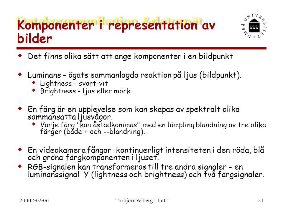 20002-02-06Torbjörn Wiberg, UmU21 Komponenter i representation av bilder  Det finns olika sätt att ange komponenter i en bildpunkt  Luminans - ögats