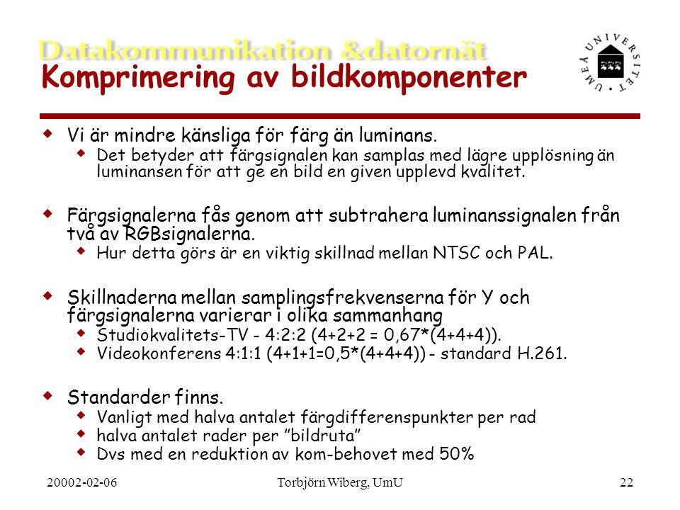 20002-02-06Torbjörn Wiberg, UmU22 Komprimering av bildkomponenter  Vi är mindre känsliga för färg än luminans.  Det betyder att färgsignalen kan sam