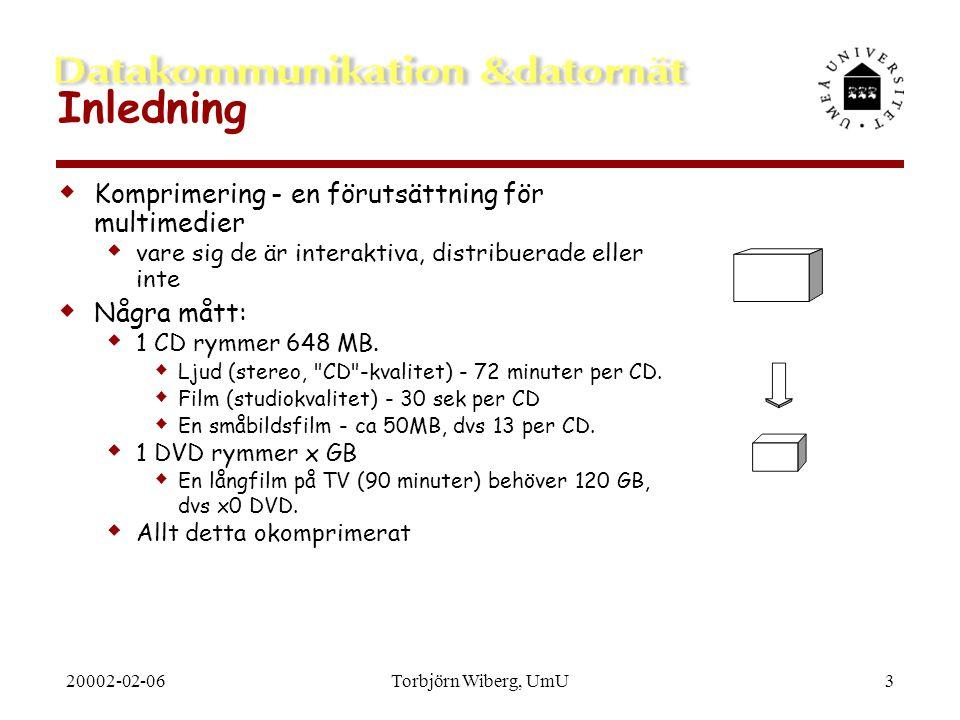 20002-02-06Torbjörn Wiberg, UmU3 Inledning  Komprimering - en förutsättning för multimedier  vare sig de är interaktiva, distribuerade eller inte 