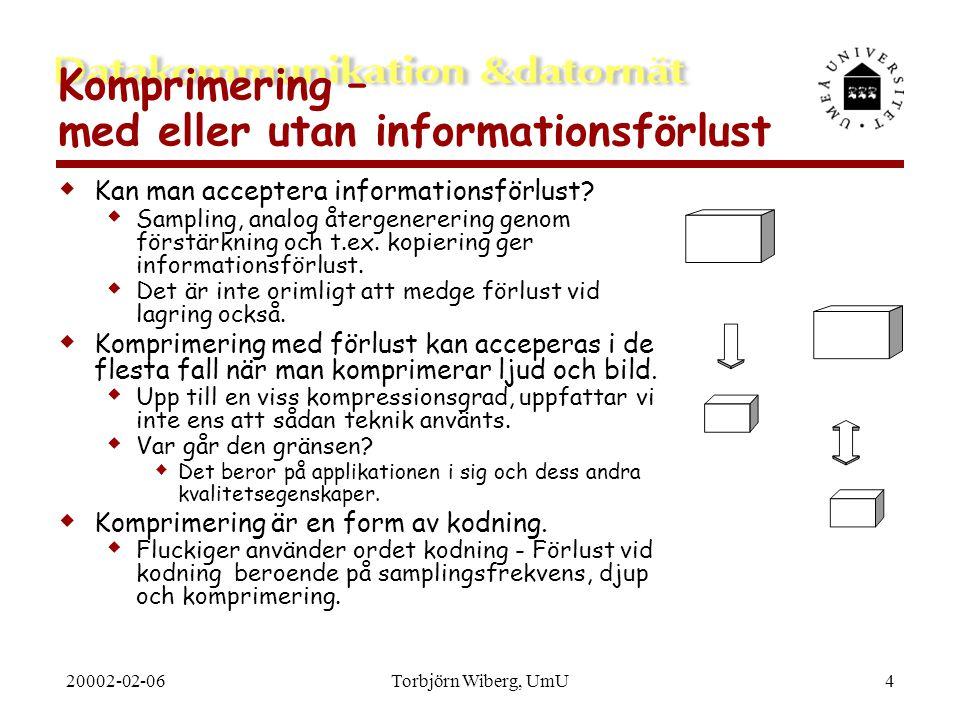 20002-02-06Torbjörn Wiberg, UmU5 Två typer av komprimering  Bit-komprimering (entropy encoding)  Oberoende av vad som komprimeras.