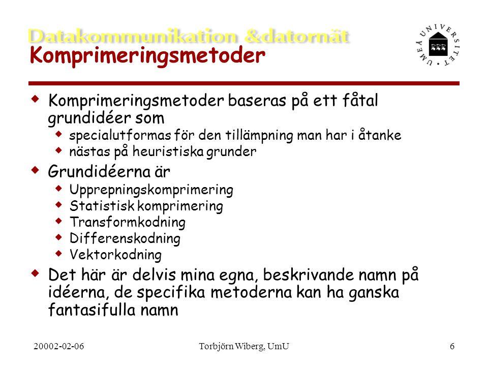 20002-02-06Torbjörn Wiberg, UmU6 Komprimeringsmetoder  Komprimeringsmetoder baseras på ett fåtal grundidéer som  specialutformas för den tillämpning