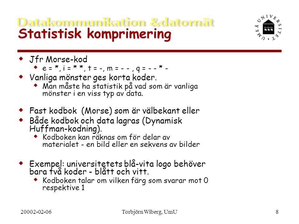 20002-02-06Torbjörn Wiberg, UmU8 Statistisk komprimering  Jfr Morse-kod  e = *, i = * *, t = -, m = - -, q = - - * -  Vanliga mönster ges korta kod