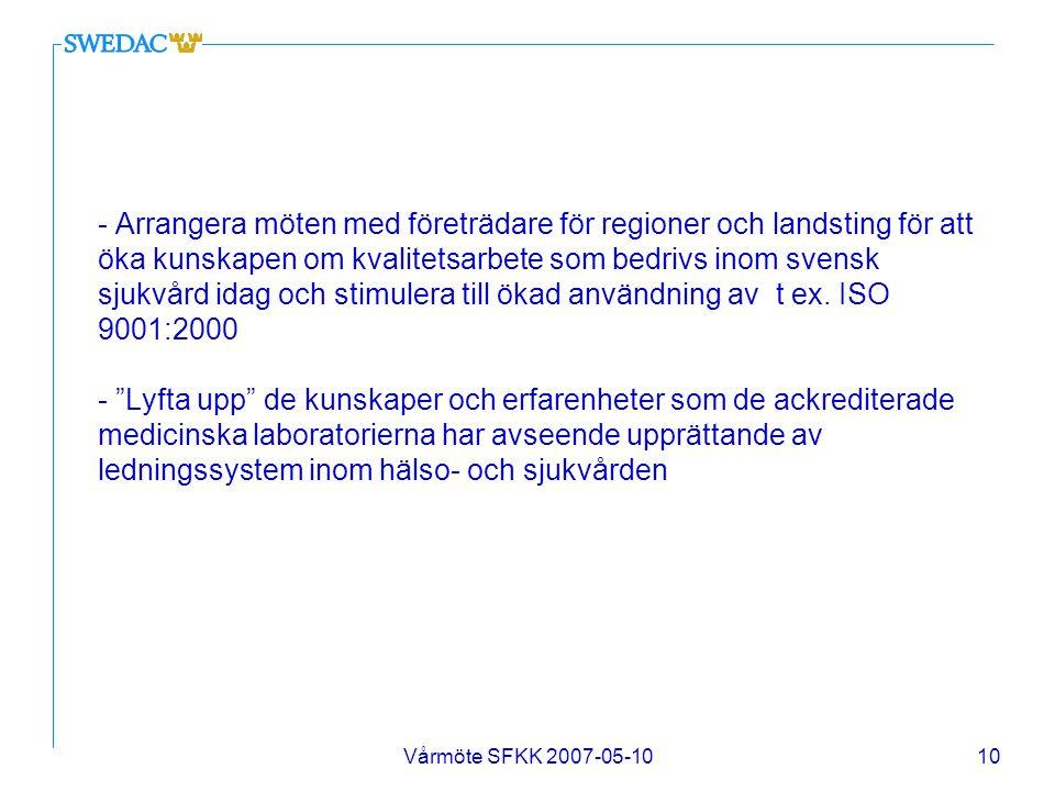 Vårmöte SFKK 2007-05-1010 - Arrangera möten med företrädare för regioner och landsting för att öka kunskapen om kvalitetsarbete som bedrivs inom svens