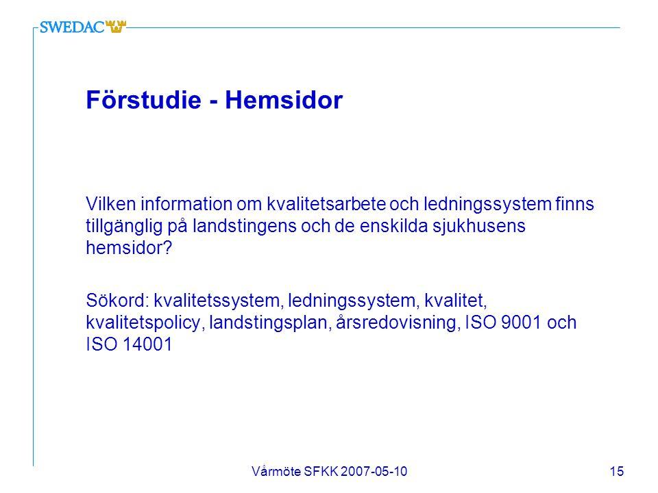 Vårmöte SFKK 2007-05-1015 Förstudie - Hemsidor Vilken information om kvalitetsarbete och ledningssystem finns tillgänglig på landstingens och de enski