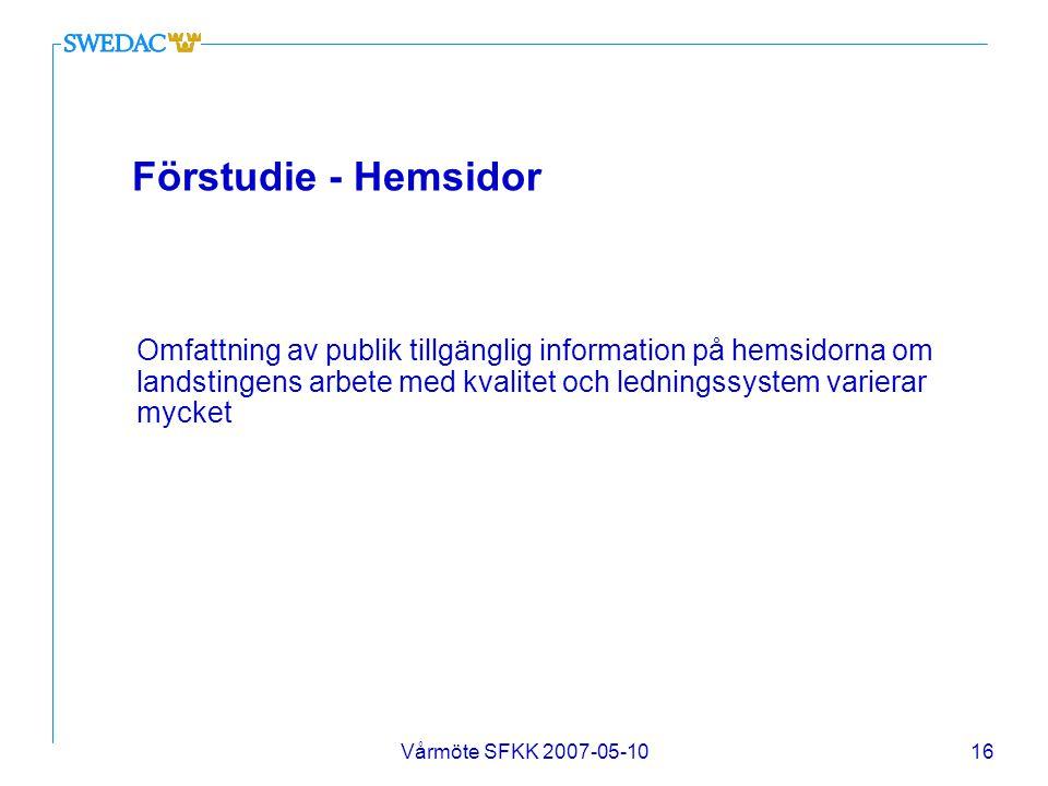 Vårmöte SFKK 2007-05-1016 Förstudie - Hemsidor Omfattning av publik tillgänglig information på hemsidorna om landstingens arbete med kvalitet och ledn