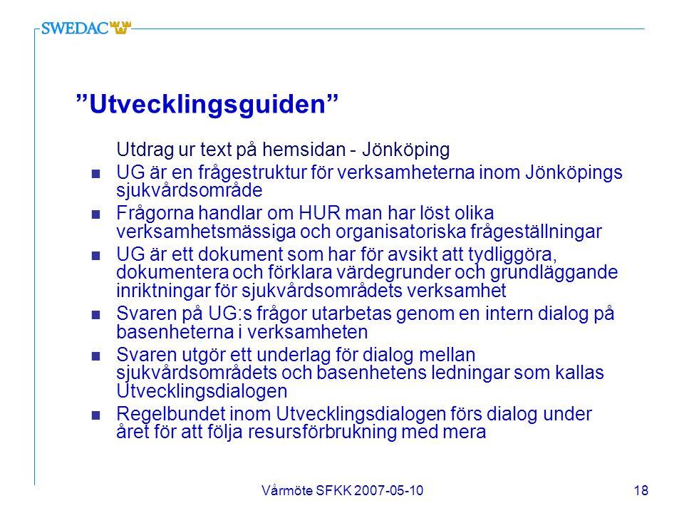 """Vårmöte SFKK 2007-05-1018 """"Utvecklingsguiden"""" Utdrag ur text på hemsidan - Jönköping n UG är en frågestruktur för verksamheterna inom Jönköpings sjukv"""