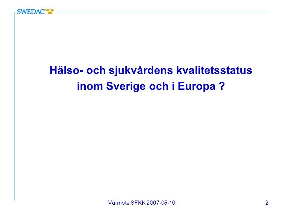 Vårmöte SFKK 2007-05-103 SOSFS 2005:12 Socialstyrelsens föreskrifter om ledningssystem för kvalitet och patientsäkerhet i hälso- och sjukvården