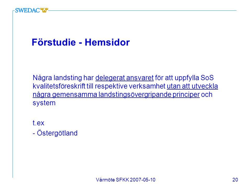 Vårmöte SFKK 2007-05-1020 Förstudie - Hemsidor Några landsting har delegerat ansvaret för att uppfylla SoS kvalitetsföreskrift till respektive verksam