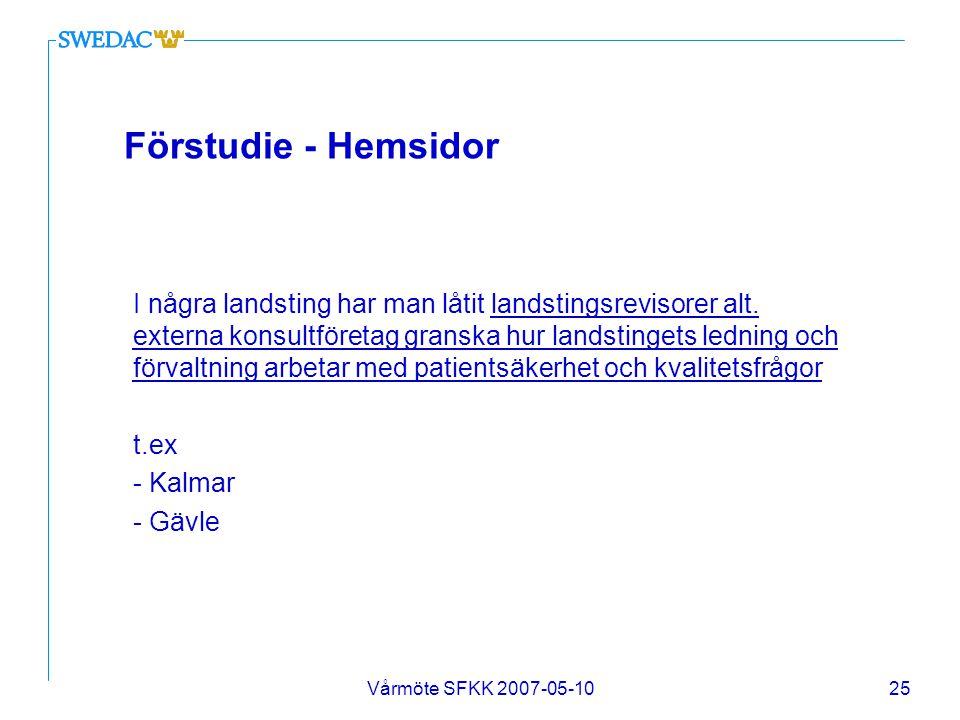 Vårmöte SFKK 2007-05-1025 Förstudie - Hemsidor I några landsting har man låtit landstingsrevisorer alt. externa konsultföretag granska hur landstinget