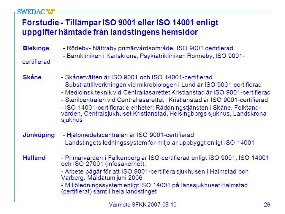 Vårmöte SFKK 2007-05-1026 Förstudie - Tillämpar ISO 9001 eller ISO 14001 enligt uppgifter hämtade från landstingens hemsidor Blekinge - Rödeby- Nättra