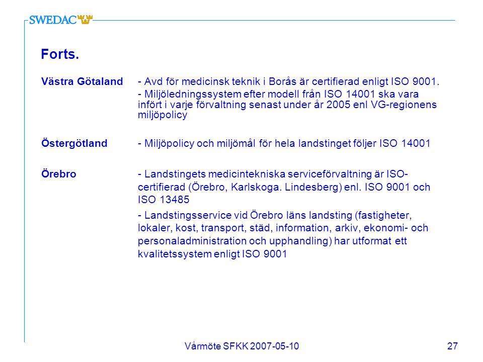 Vårmöte SFKK 2007-05-1027 Forts. Västra Götaland- Avd för medicinsk teknik i Borås är certifierad enligt ISO 9001. - Miljöledningssystem efter modell