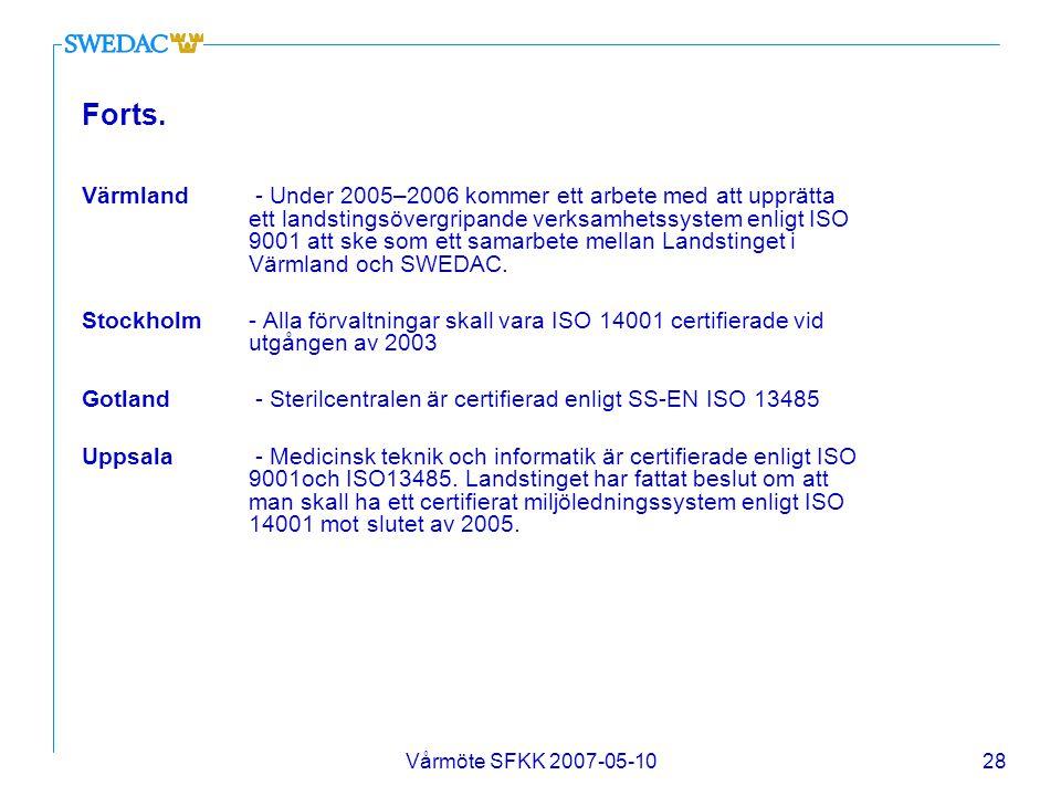 Vårmöte SFKK 2007-05-1028 Forts. Värmland - Under 2005–2006 kommer ett arbete med att upprätta ett landstingsövergripande verksamhetssystem enligt ISO