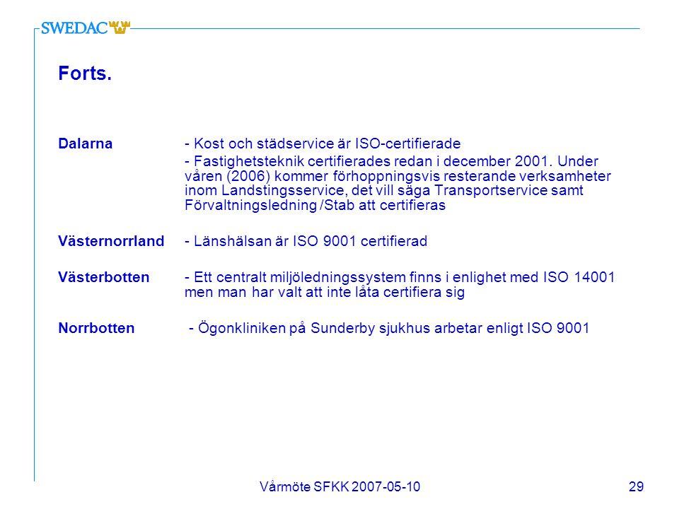 Vårmöte SFKK 2007-05-1029 Forts. Dalarna - Kost och städservice är ISO-certifierade - Fastighetsteknik certifierades redan i december 2001. Under våre