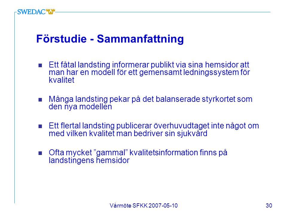 Vårmöte SFKK 2007-05-1030 Förstudie - Sammanfattning n Ett fåtal landsting informerar publikt via sina hemsidor att man har en modell för ett gemensam