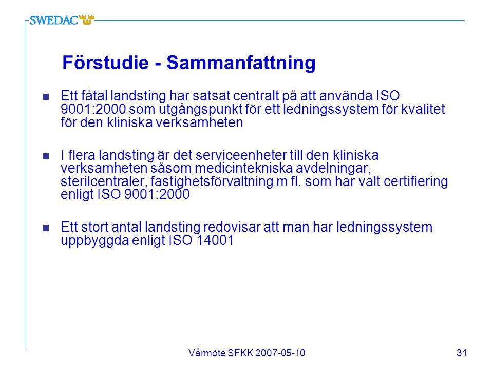 Vårmöte SFKK 2007-05-1031 Förstudie - Sammanfattning n Ett fåtal landsting har satsat centralt på att använda ISO 9001:2000 som utgångspunkt för ett l