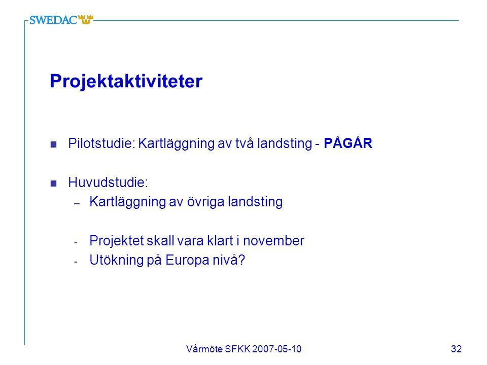 Vårmöte SFKK 2007-05-1032 Projektaktiviteter n Pilotstudie: Kartläggning av två landsting - PÅGÅR n Huvudstudie: – Kartläggning av övriga landsting -