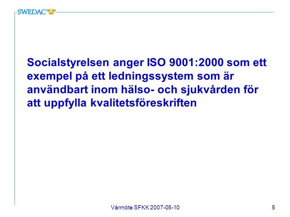 Vårmöte SFKK 2007-05-106 Tillämpningen av ledningssystem och pågående kvalitetsarbete inom hälso- och sjukvården?
