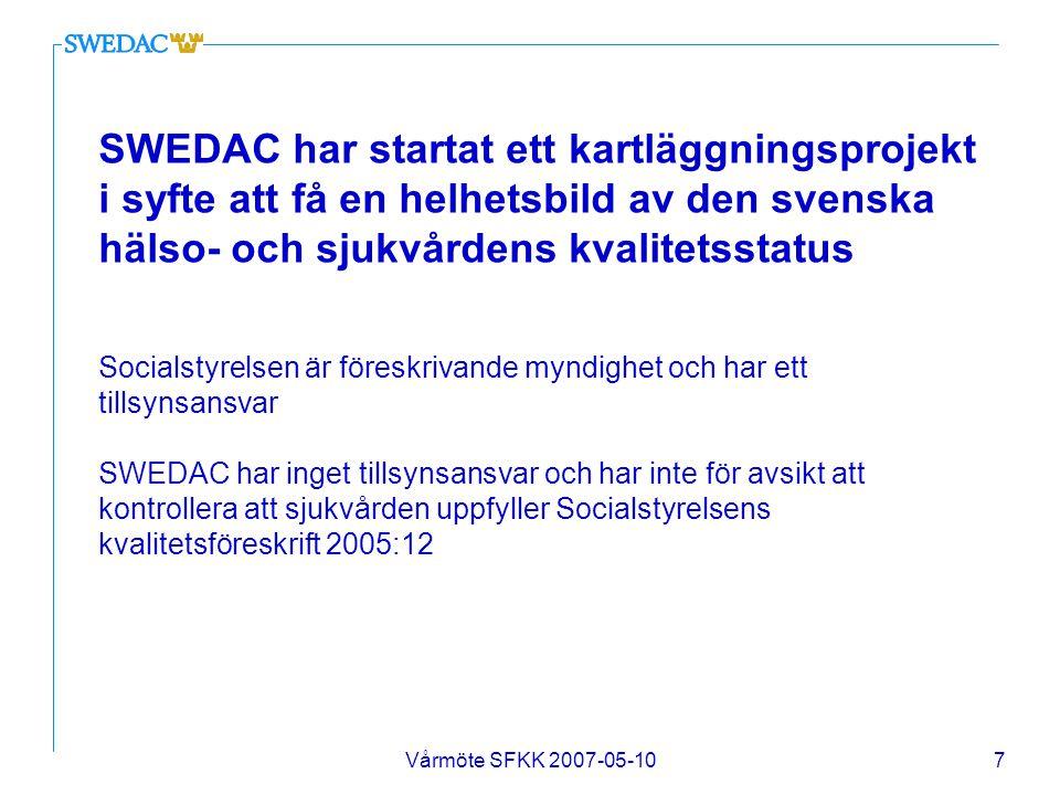 Vårmöte SFKK 2007-05-1018 Utvecklingsguiden Utdrag ur text på hemsidan - Jönköping n UG är en frågestruktur för verksamheterna inom Jönköpings sjukvårdsområde n Frågorna handlar om HUR man har löst olika verksamhetsmässiga och organisatoriska frågeställningar n UG är ett dokument som har för avsikt att tydliggöra, dokumentera och förklara värdegrunder och grundläggande inriktningar för sjukvårdsområdets verksamhet n Svaren på UG:s frågor utarbetas genom en intern dialog på basenheterna i verksamheten n Svaren utgör ett underlag för dialog mellan sjukvårdsområdets och basenhetens ledningar som kallas Utvecklingsdialogen n Regelbundet inom Utvecklingsdialogen förs dialog under året för att följa resursförbrukning med mera