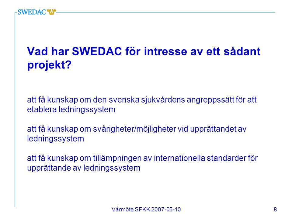 Vårmöte SFKK 2007-05-108 Vad har SWEDAC för intresse av ett sådant projekt? att få kunskap om den svenska sjukvårdens angreppssätt för att etablera le