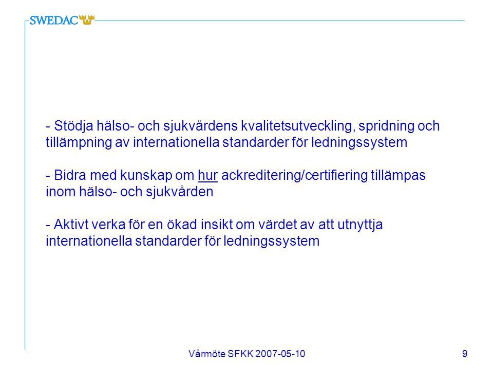 Vårmöte SFKK 2007-05-1010 - Arrangera möten med företrädare för regioner och landsting för att öka kunskapen om kvalitetsarbete som bedrivs inom svensk sjukvård idag och stimulera till ökad användning av t ex.