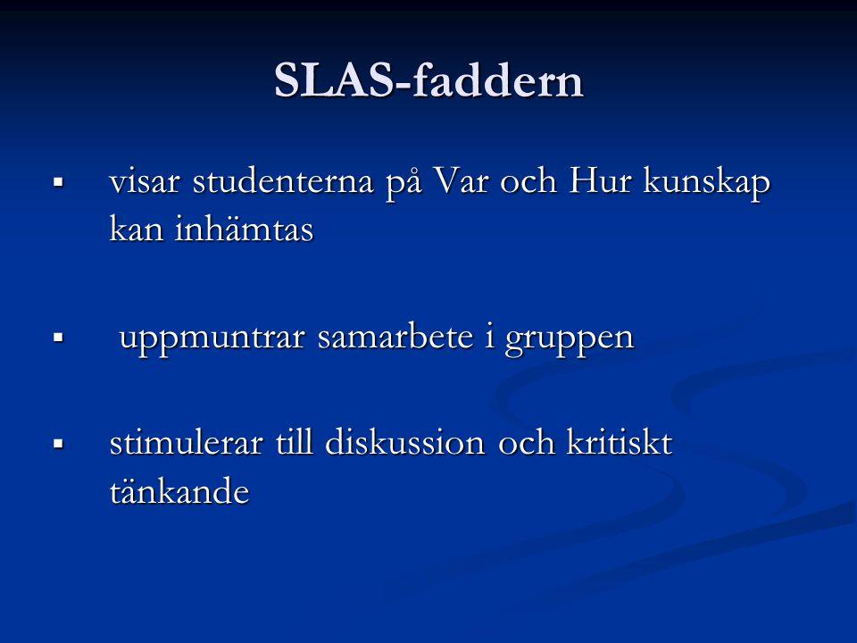 SLAS-faddern  visar studenterna på Var och Hur kunskap kan inhämtas  uppmuntrar samarbete i gruppen  stimulerar till diskussion och kritiskt tänkande