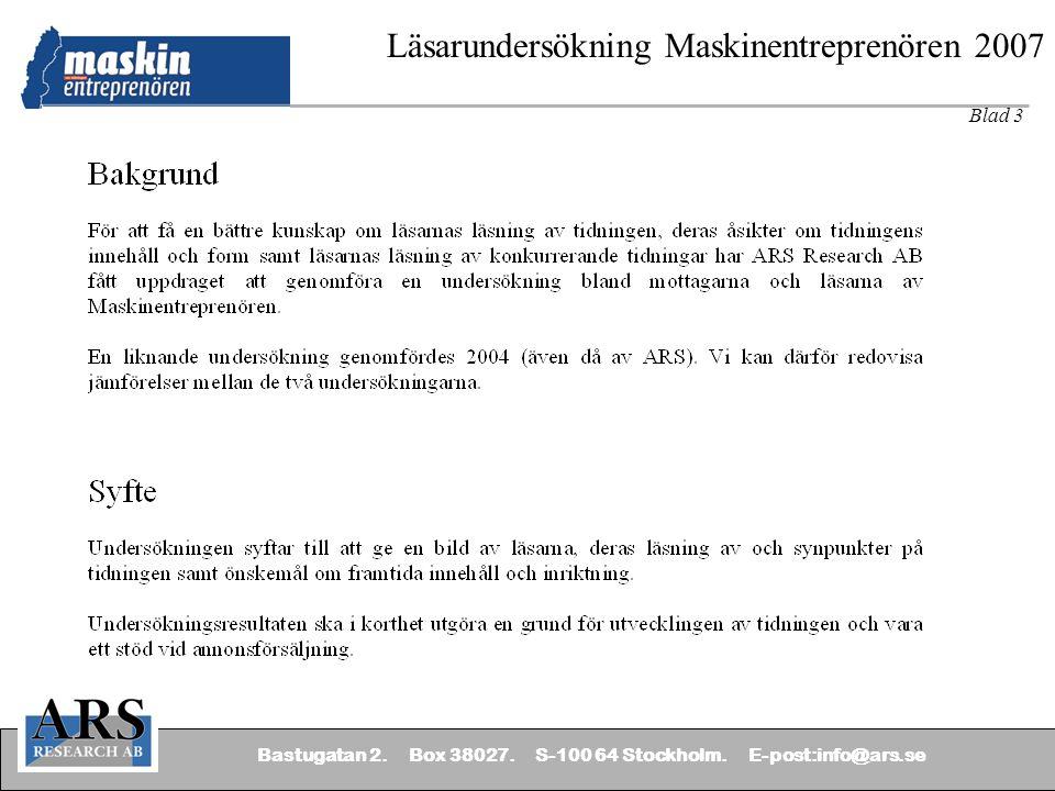 Bastugatan 2.Box 38027. S-100 64 Stockholm.
