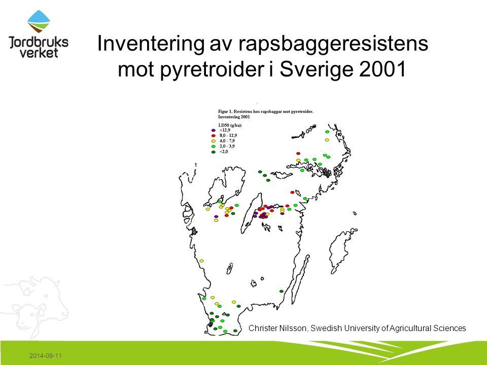 Bekämpningseffekt mot rapsbaggar, 3 försök, Östergötland, 2002.