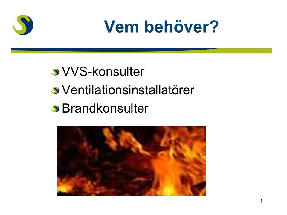 4 Vem behöver? VVS-konsulter Ventilationsinstallatörer Brandkonsulter