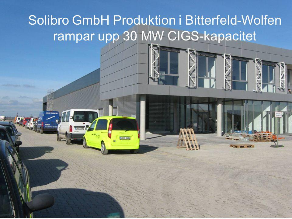 Solibro GmbH Produktion i Bitterfeld-Wolfen rampar upp 30 MW CIGS-kapacitet