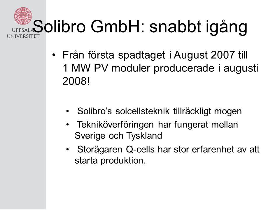 Solibro GmbH: snabbt igång Från första spadtaget i August 2007 till 1 MW PV moduler producerade i augusti 2008! Solibro's solcellsteknik tillräckligt