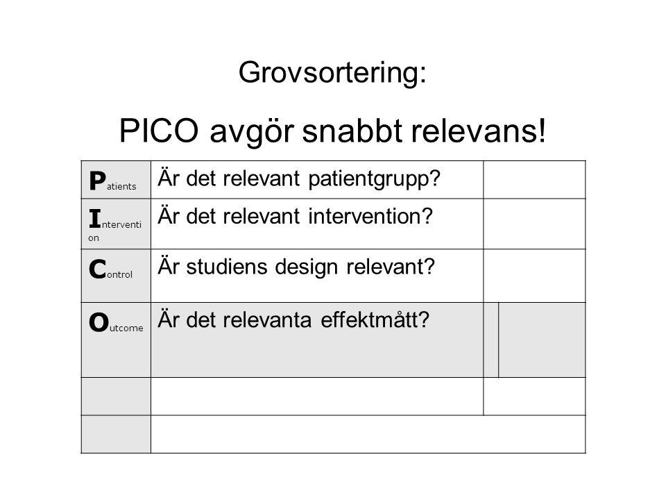 Grovsortering: PICO avgör snabbt relevans! P atients Är det relevant patientgrupp? I nterventi on Är det relevant intervention? C ontrol Är studiens d