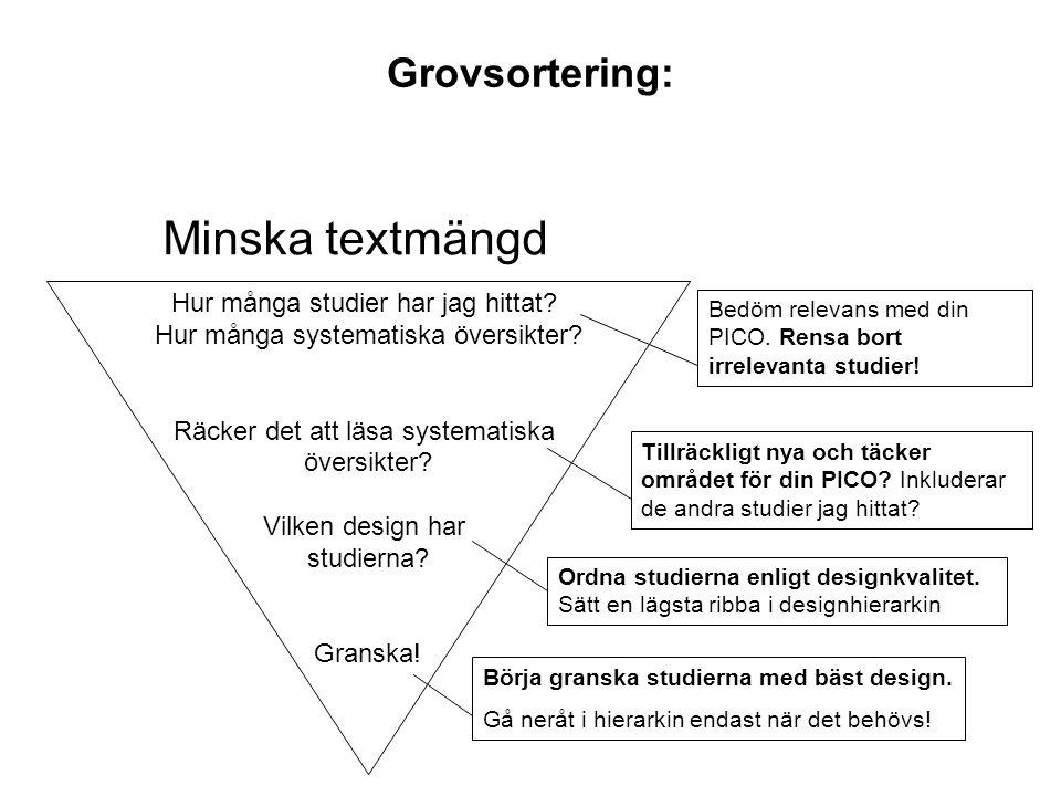 Grovsortering: Minska textmängd Hur många studier har jag hittat? Hur många systematiska översikter? Räcker det att läsa systematiska översikter? Vilk