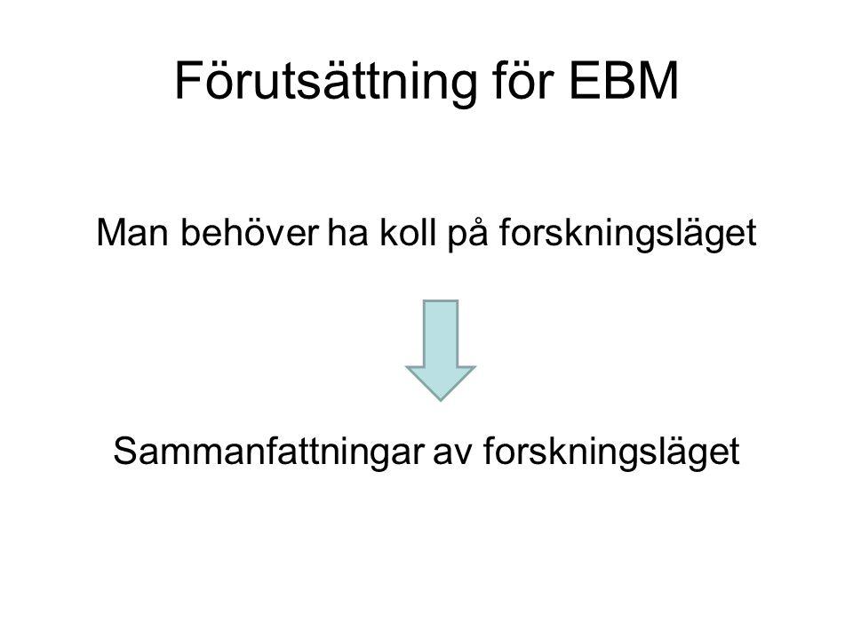 Förutsättning för EBM Man behöver ha koll på forskningsläget Sammanfattningar av forskningsläget