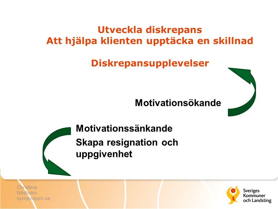 Utveckla diskrepans Att hjälpa klienten upptäcka en skillnad Diskrepansupplevelser Motivationsökande Motivationssänkande Skapa resignation och uppgive