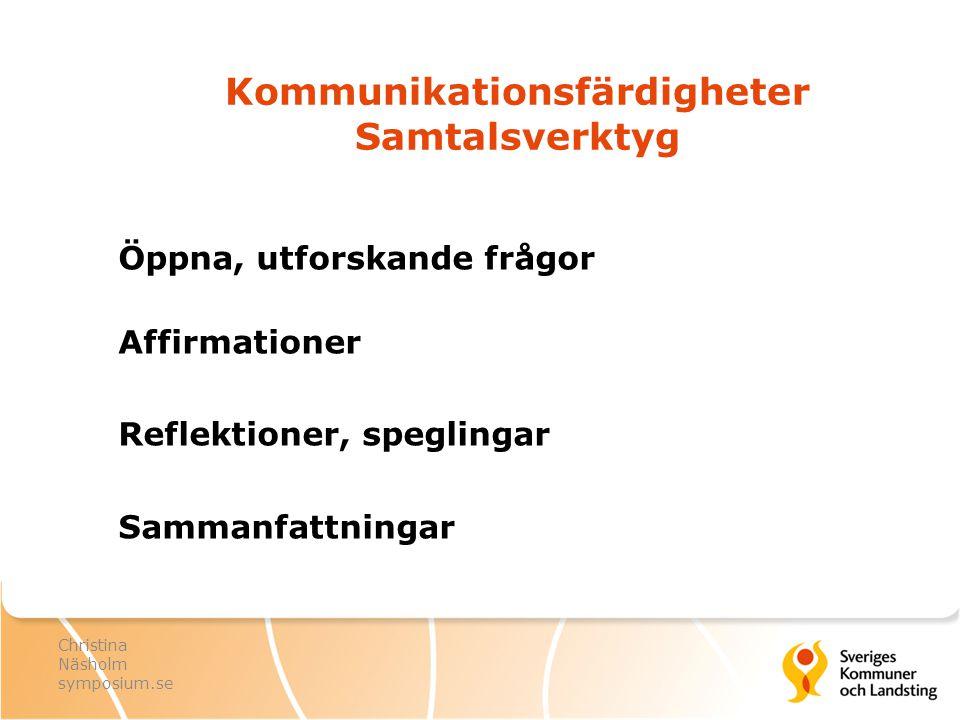 Kommunikationsfärdigheter Samtalsverktyg Öppna, utforskande frågor Affirmationer Reflektioner, speglingar Sammanfattningar Christina Näsholm symposium