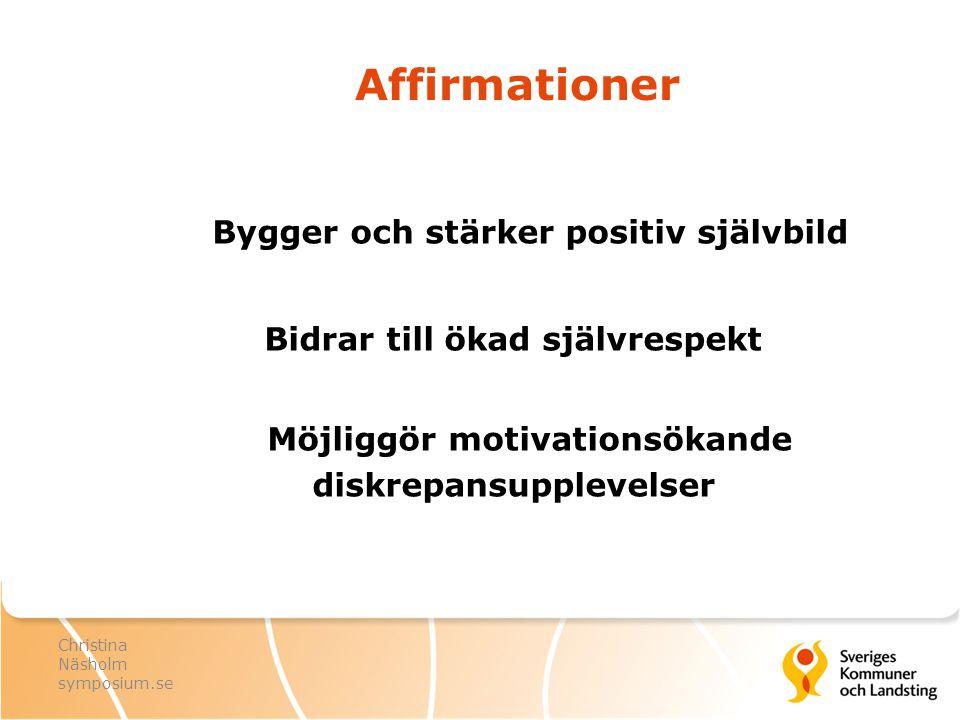 Affirmationer Bygger och stärker positiv självbild Bidrar till ökad självrespekt Möjliggör motivationsökande diskrepansupplevelser Christina Näsholm s
