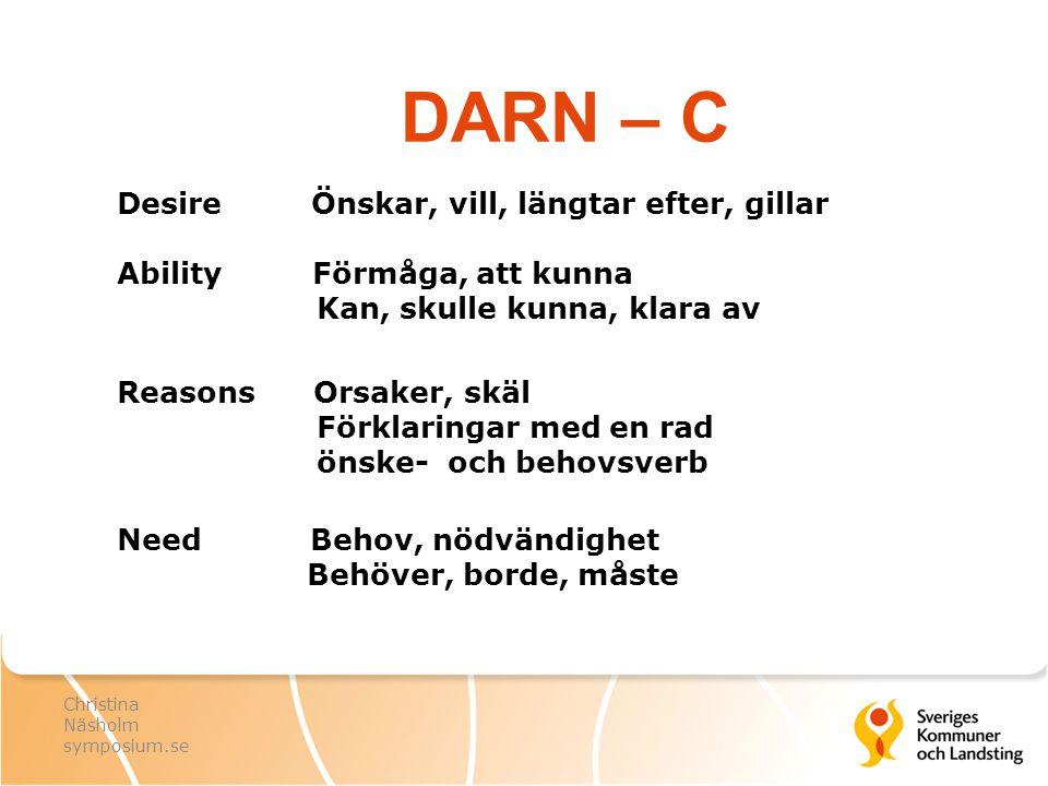 DARN – C Desire Önskar, vill, längtar efter, gillar Ability Förmåga, att kunna Kan, skulle kunna, klara av Reasons Orsaker, skäl Förklaringar med en r