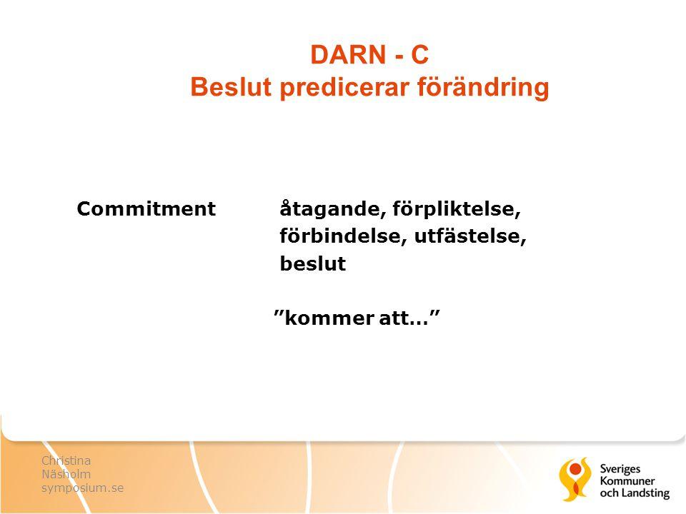 """DARN - C Beslut predicerar förändring Commitment åtagande, förpliktelse, förbindelse, utfästelse, beslut """"kommer att…"""" Christina Näsholm symposium.se"""