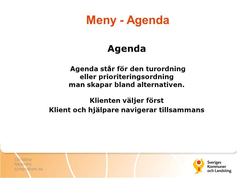Meny - Agenda Agenda Agenda står för den turordning eller prioriteringsordning man skapar bland alternativen. Klienten väljer först Klient och hjälpar