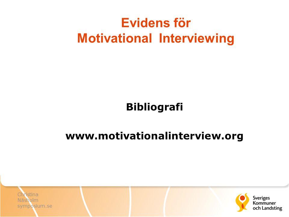 Evidens för Motivational Interviewing Bibliografi www.motivationalinterview.org Christina Näsholm symposium.se
