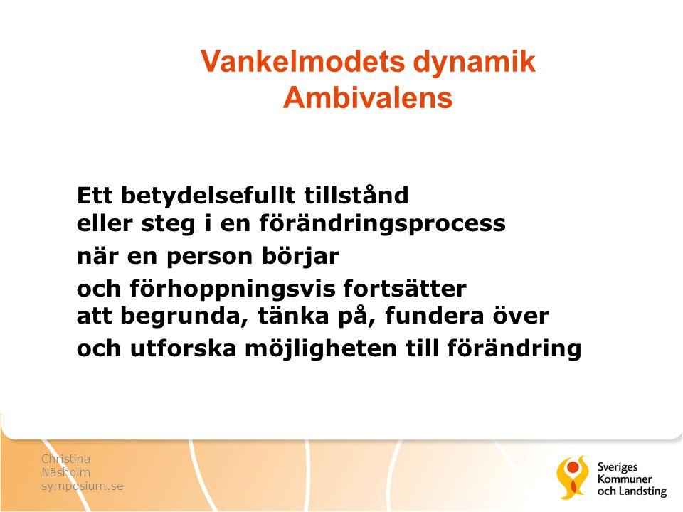 Vankelmodets dynamik Ambivalens Ett betydelsefullt tillstånd eller steg i en förändringsprocess när en person börjar och förhoppningsvis fortsätter at