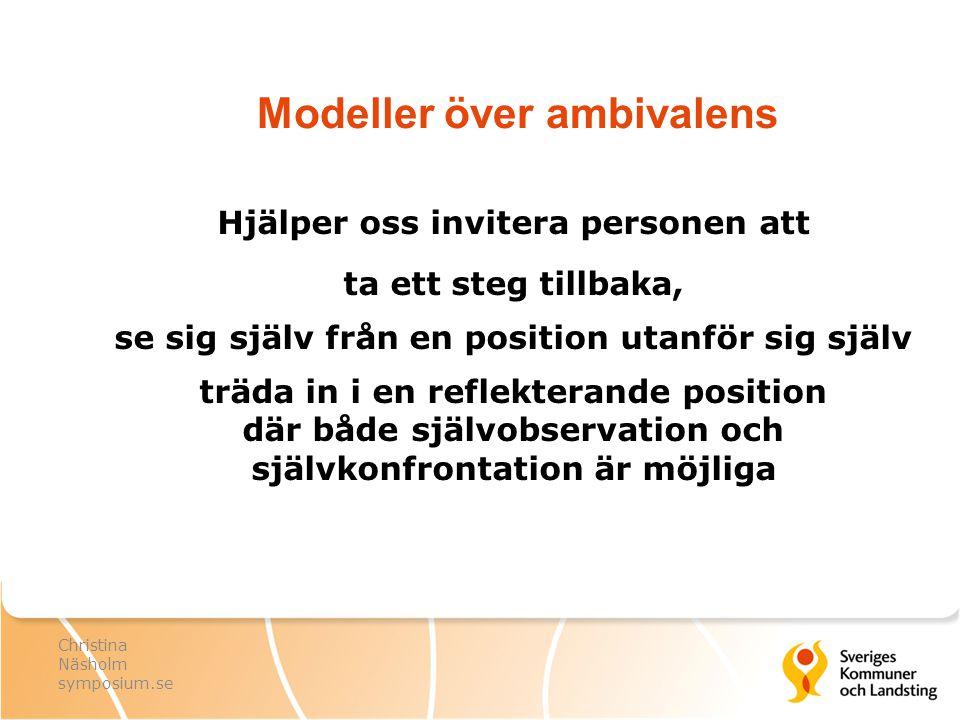 Modeller över ambivalens Hjälper oss invitera personen att ta ett steg tillbaka, se sig själv från en position utanför sig själv träda in i en reflekt
