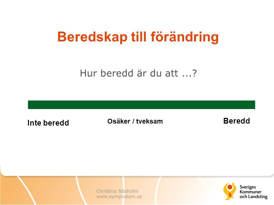 Christina Näsholm www.symposium.se Beredskap till förändring Hur beredd är du att...? Inte beredd Osäker / tveksam Beredd