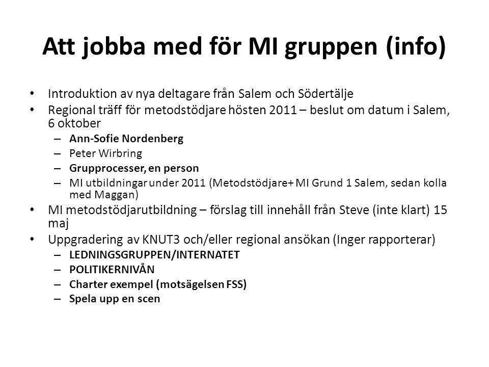 Att jobba med för MI gruppen (info) Introduktion av nya deltagare från Salem och Södertälje Regional träff för metodstödjare hösten 2011 – beslut om d