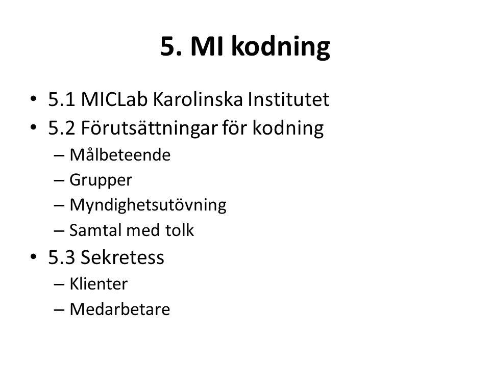 5. MI kodning 5.1 MICLab Karolinska Institutet 5.2 Förutsättningar för kodning – Målbeteende – Grupper – Myndighetsutövning – Samtal med tolk 5.3 Sekr