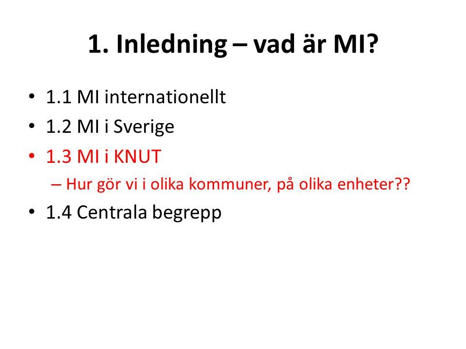 1. Inledning – vad är MI? 1.1 MI internationellt 1.2 MI i Sverige 1.3 MI i KNUT – Hur gör vi i olika kommuner, på olika enheter?? 1.4 Centrala begrepp