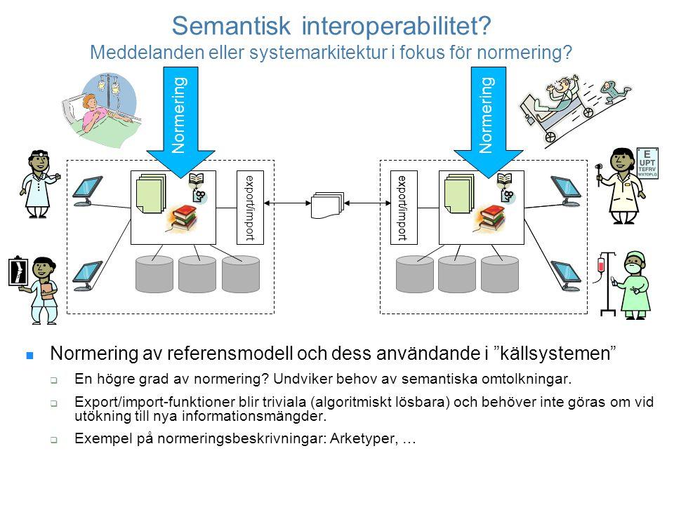 """Semantisk interoperabilitet? Meddelanden eller systemarkitektur i fokus för normering? Normering av referensmodell och dess användande i """"källsystemen"""