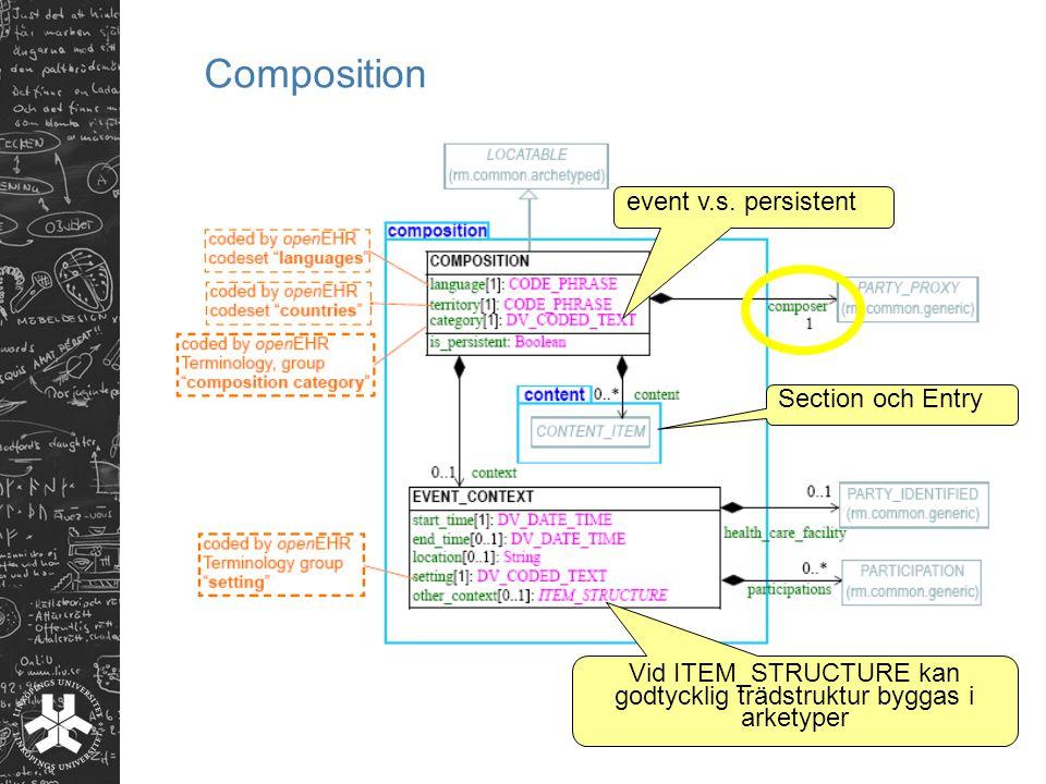 event v.s. persistent Vid ITEM_STRUCTURE kan godtycklig trädstruktur byggas i arketyper Section och Entry
