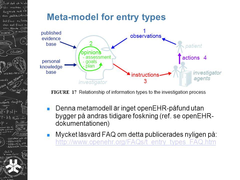 Denna metamodell är inget openEHR-påfund utan bygger på andras tidigare foskning (ref. se openEHR- dokumentationen) Mycket läsvärd FAQ om detta public