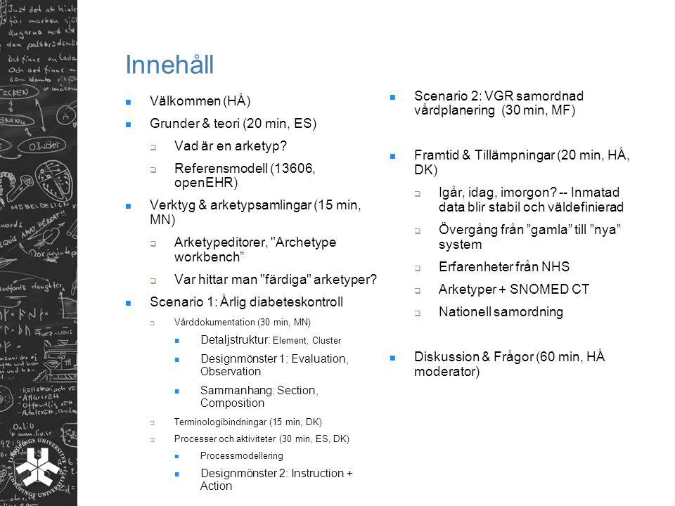 Innehåll Välkommen (HÅ) Grunder & teori (20 min, ES)  Vad är en arketyp?  Referensmodell (13606, openEHR) Verktyg & arketypsamlingar (15 min, MN) 